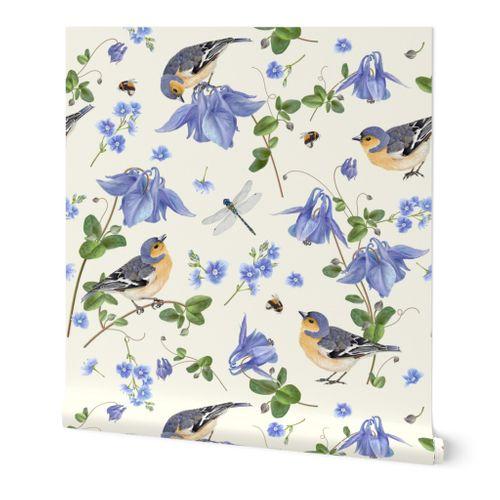 NEW Handmade Large Bluebirds Flowers Bird Feather Garden Shopping Denim Tote Bag
