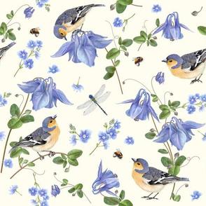 Blue flower bird pattern
