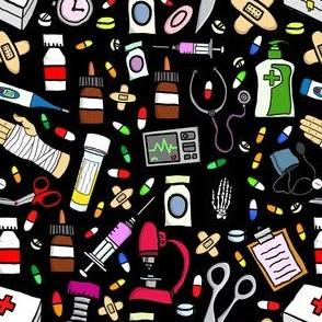 Nurse Stuff Pattern - Black Background