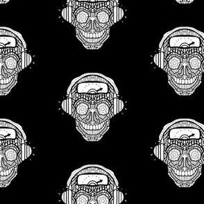 Black and White Headphone Music Sugar Skull
