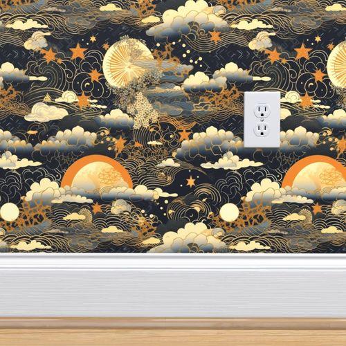 Wallpaper Egyptian Pharoahe Sugar Skull Pattern