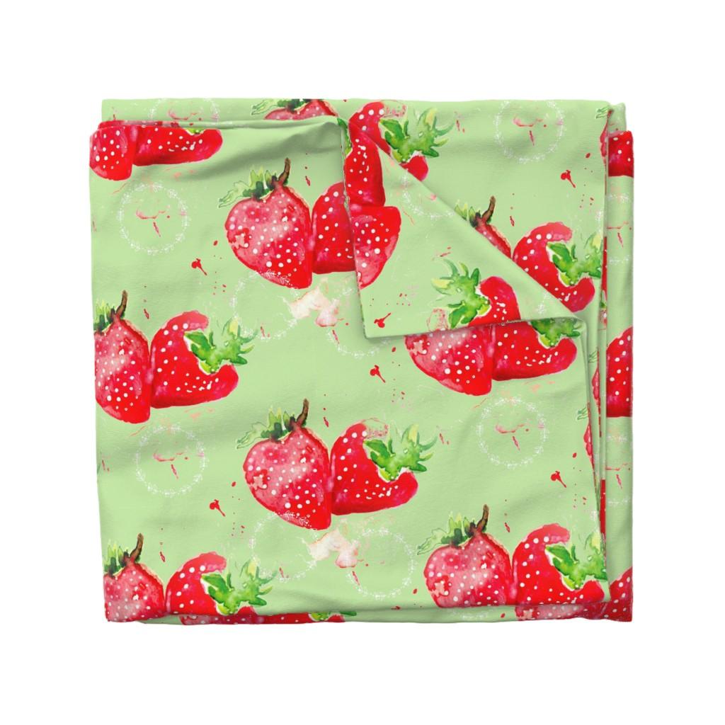 Wyandotte Duvet Cover featuring Strawberry Splash by floramoon