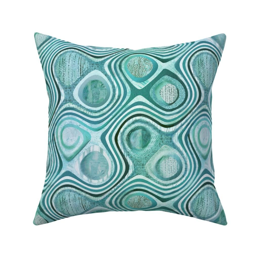 Catalan Throw Pillow featuring mod aqua concentric by wren_leyland