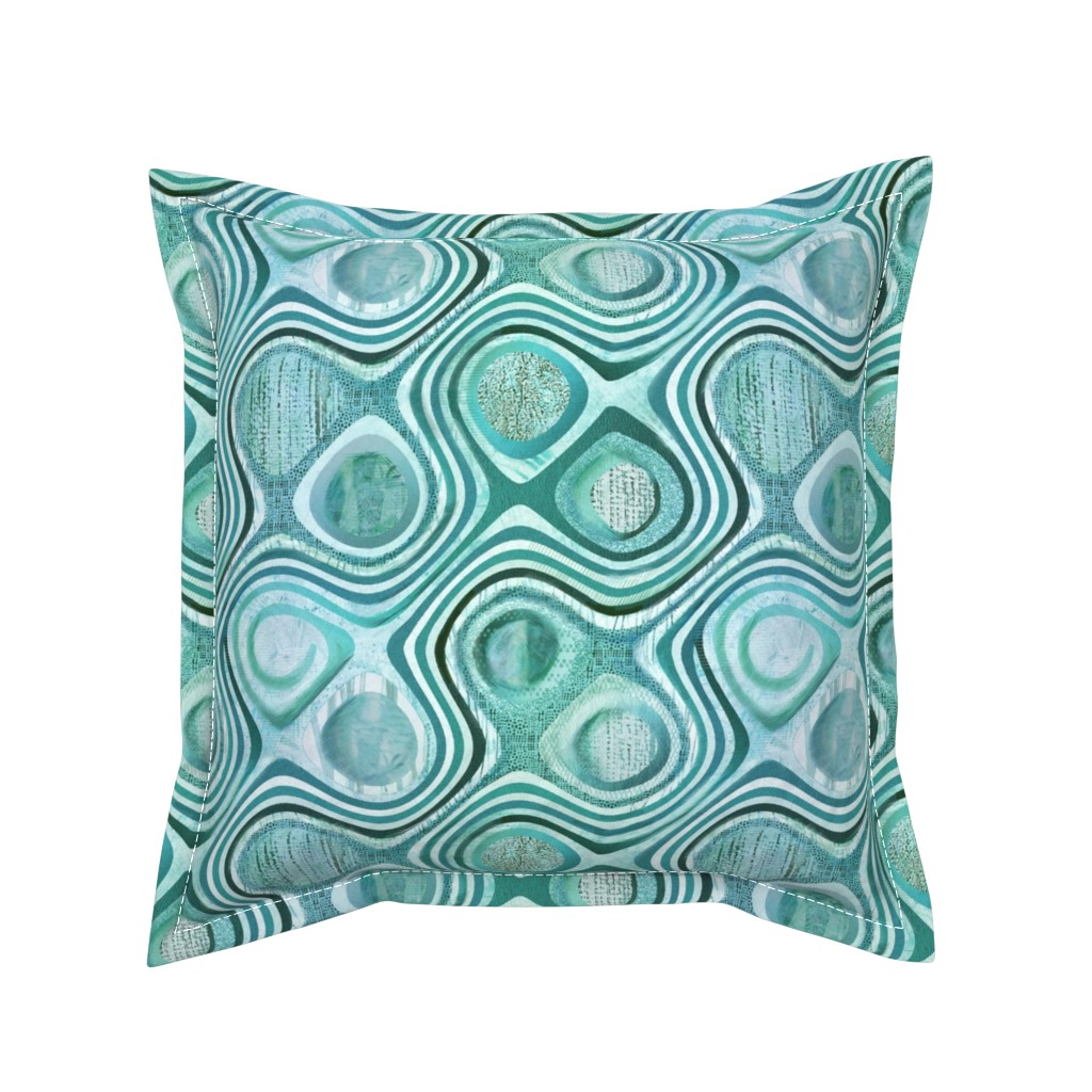 Serama Throw Pillow featuring mod aqua concentric by wren_leyland