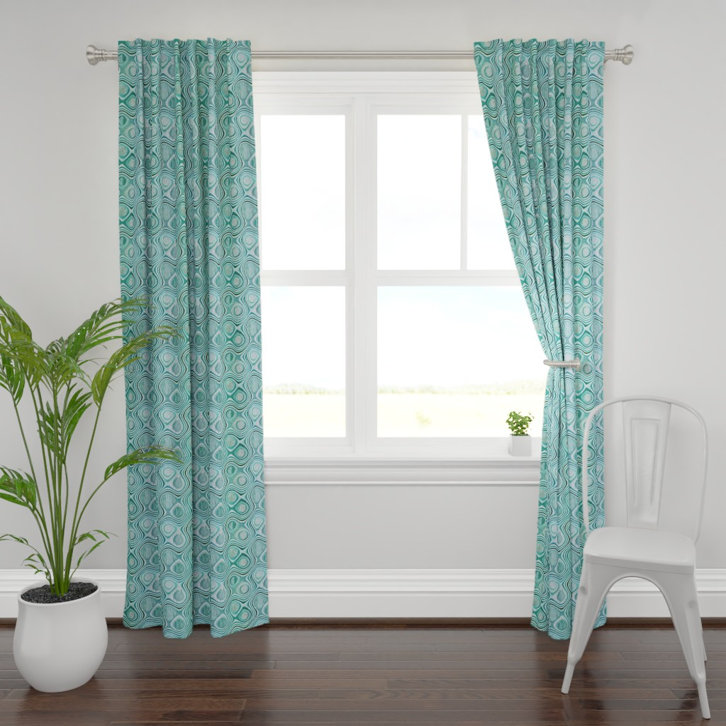 Plymouth Curtain Panel featuring mod aqua concentric by wren_leyland