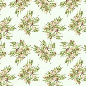 Gumnuts Ditsy Peach Bronze Green v3