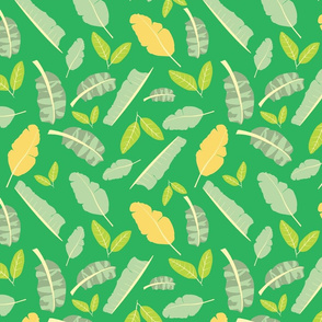 Tropical Toucan Leaves Bright Green