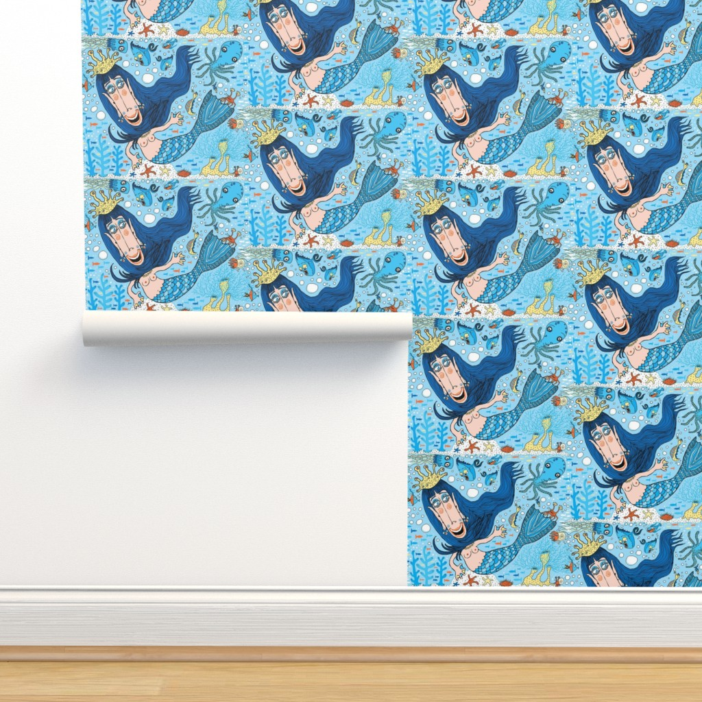 Isobar Durable Wallpaper featuring quirky mermaid with sea friends, blue yellow orange peach, large scale by amy_g