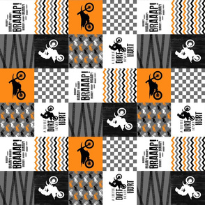 3 inch - Motocross//A little dirt never hurt - orange - wholecloth cheater quilt - Rotated