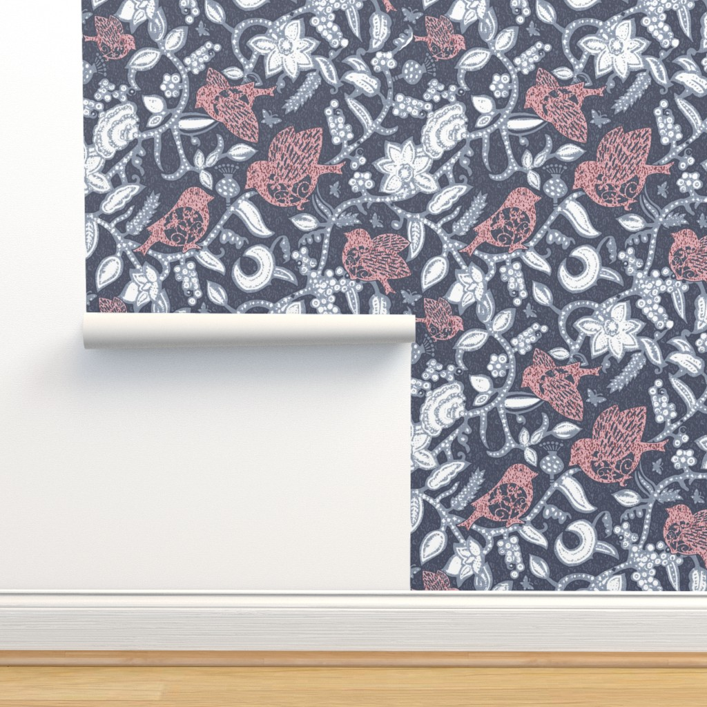 Isobar Durable Wallpaper featuring Sparrow's Lunch in gray nega by chicca_besso