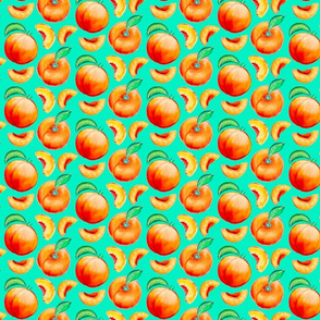 Peaches Pattern - Green Background