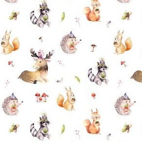 Cute watercolor bohemian baby cartoon,oak, hedgehog, raccon, squirrel and moose animal for nursary, woodland isolated forest illustration 2