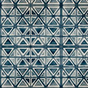 indigo geometric shibori