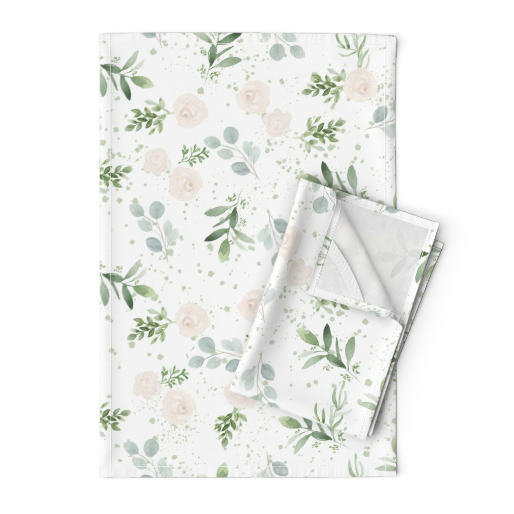 Orpington Tea Towels featuring Seamless floral paper by daily_miracles