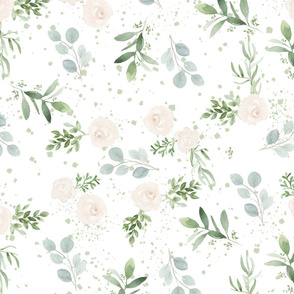 Watercolor floral pattern Small Scale