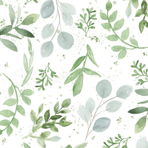 Watercolor Larger leaves pattern