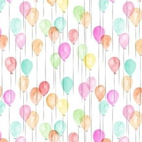 (extra small scale) watercolor multi balloons - birthday C18BS
