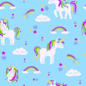 Magic pink unicorns on the blue pattern