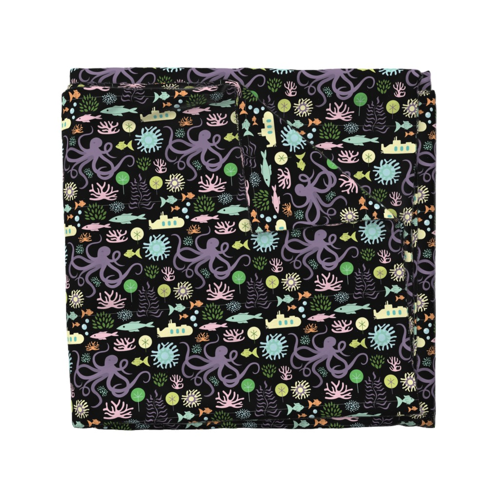 Wyandotte Duvet Cover featuring Octopus's Garden on Black by denisecolgan
