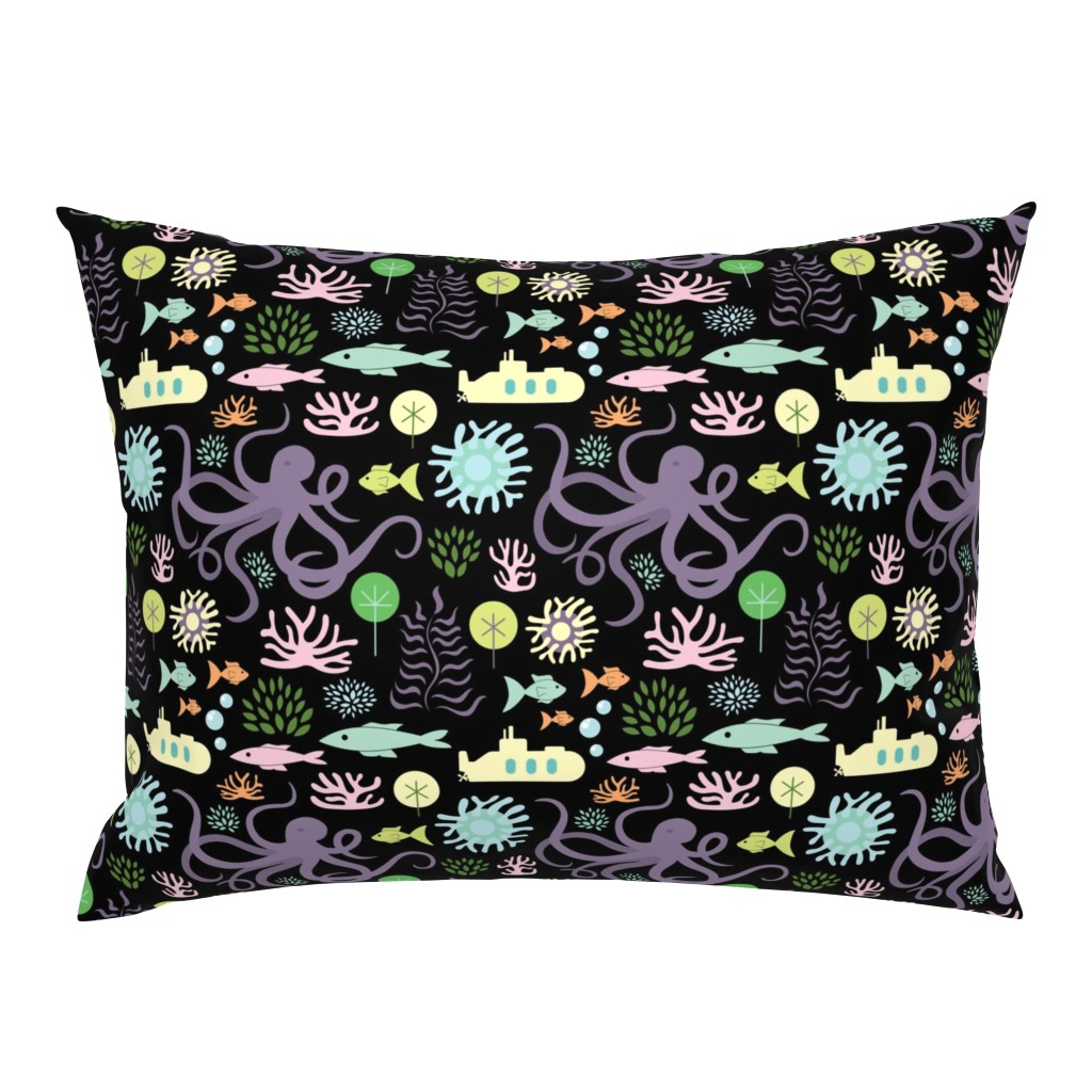 Campine Pillow Sham featuring Octopus's Garden on Black by denisecolgan