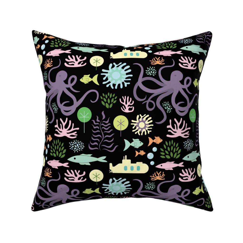 Catalan Throw Pillow featuring Octopus's Garden on Black by denisecolgan