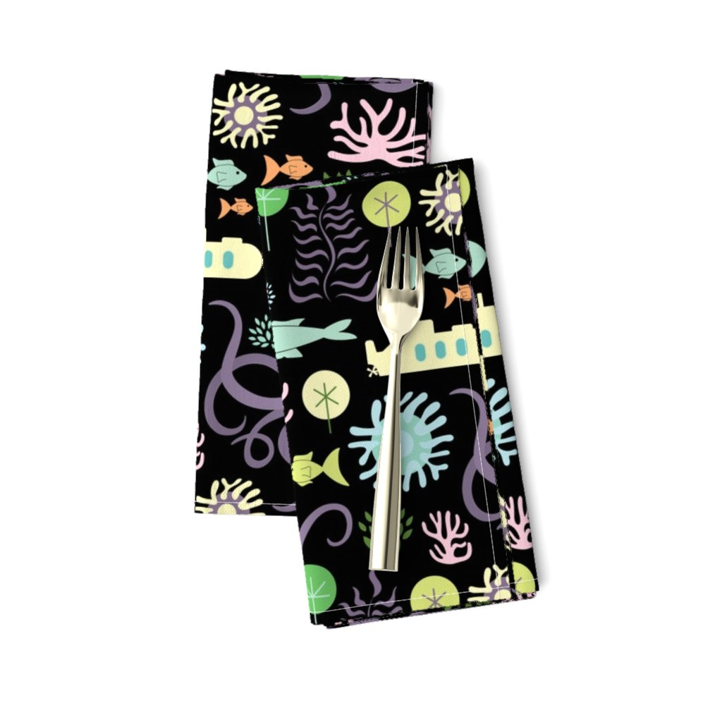 Amarela Dinner Napkins featuring Octopus's Garden on Black by denisecolgan