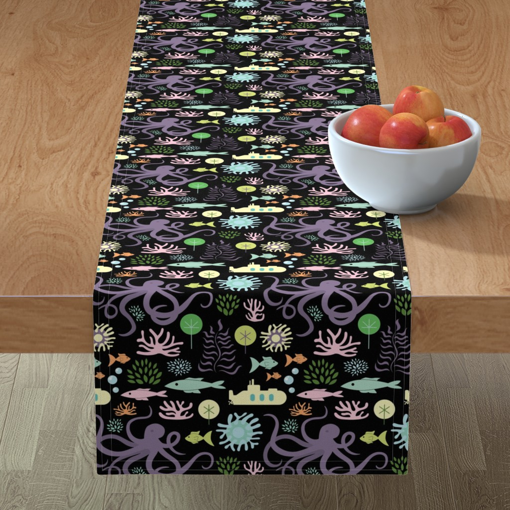 Minorca Table Runner featuring Octopus's Garden on Black by denisecolgan