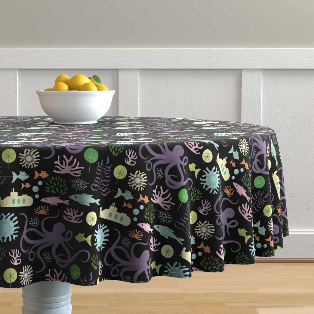 Malay Round Tablecloth featuring Octopus's Garden on Black by denisecolgan