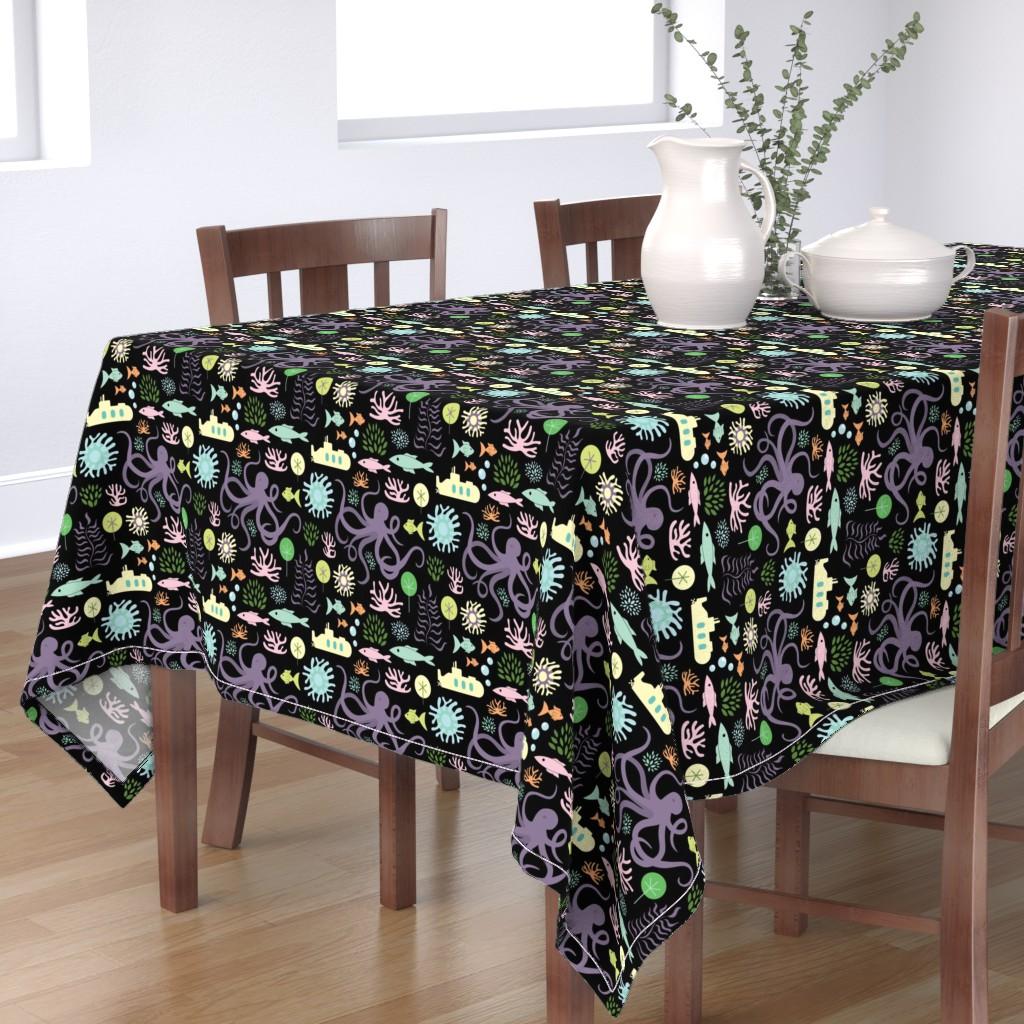 Bantam Rectangular Tablecloth featuring Octopus's Garden on Black by denisecolgan