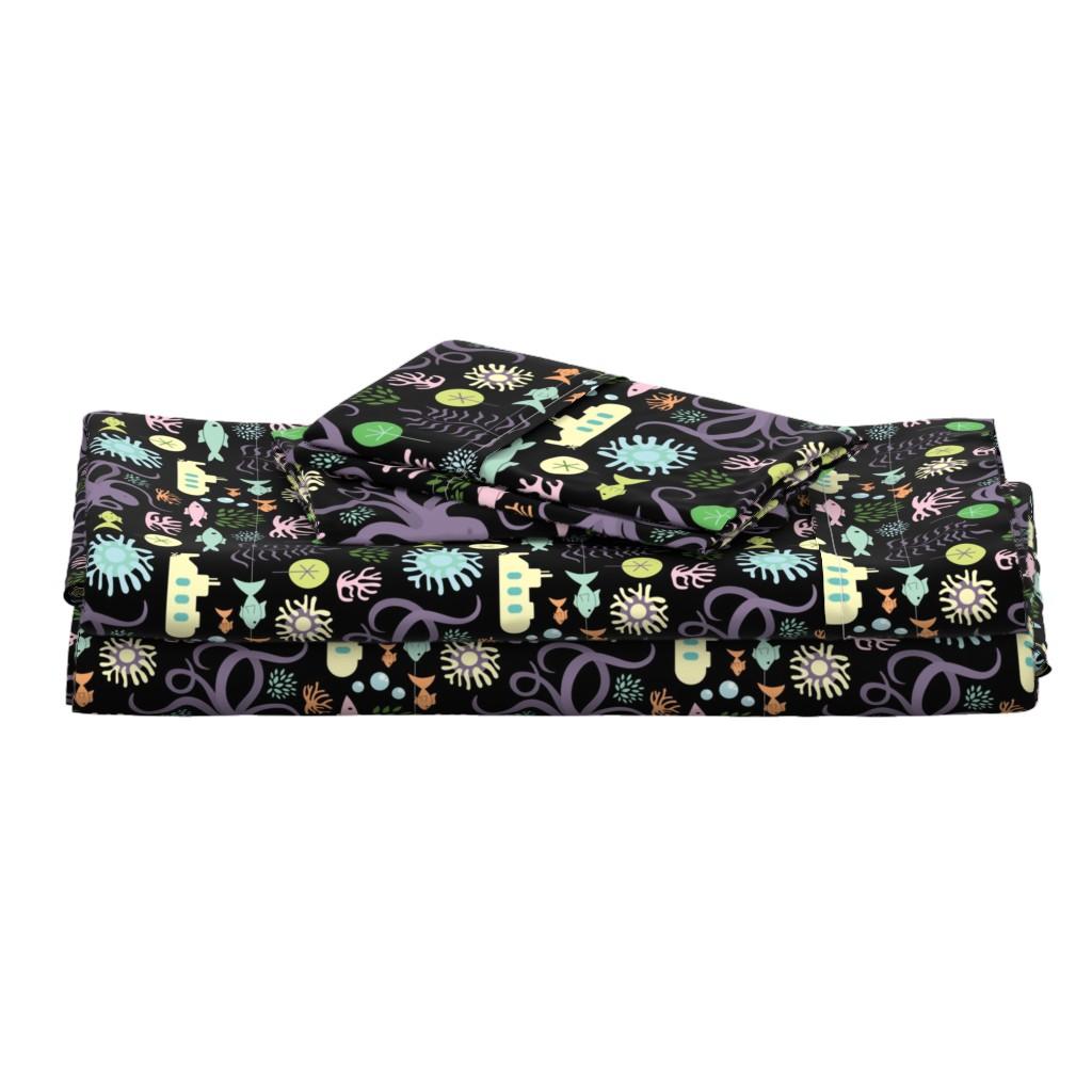 Langshan Full Bed Set featuring Octopus's Garden on Black by denisecolgan