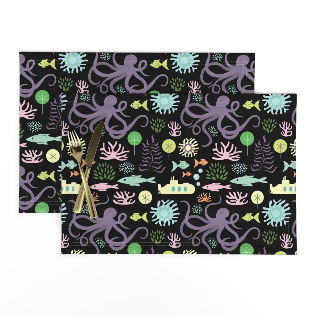 Lamona Cloth Placemats featuring Octopus's Garden on Black by denisecolgan