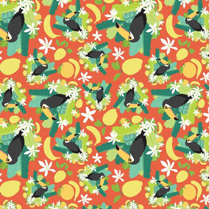 Toucans Everywhere Red