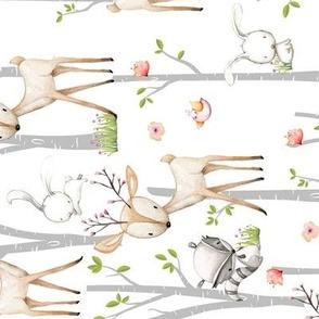 Sweet Woodland Animals (rotated) - Deer Fox Raccoon Birch Trees Flowers Baby Girl Nursery Blanket Sheets Bedding A