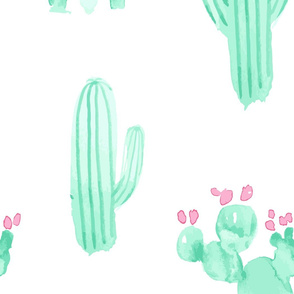 Jumbo XL Watercolor Cactus || Mint green, jade pink succulent Arizona desert _Miss Chiff Designs