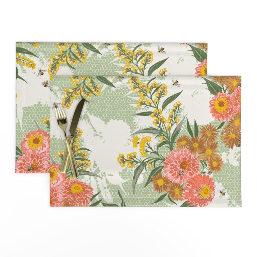Lamona Cloth Placemats featuring F1053_HAZEL FLORAL-coral-R by elizabethhalpern