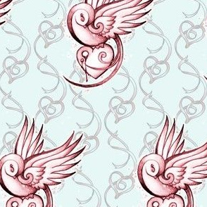 Tattoo Swallow and Hearts