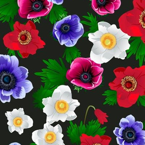 Seamless pattern with anemone flowers