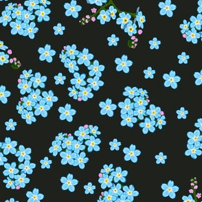 Seamless pattern with forget-me-not flowers