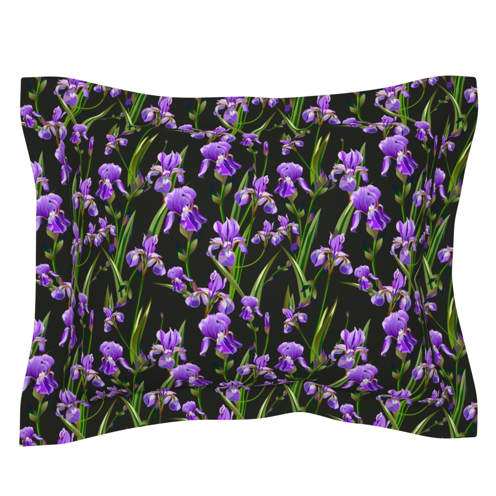 Sebright Pillow Sham featuring Seamless pattern with iris flowers by zazulla