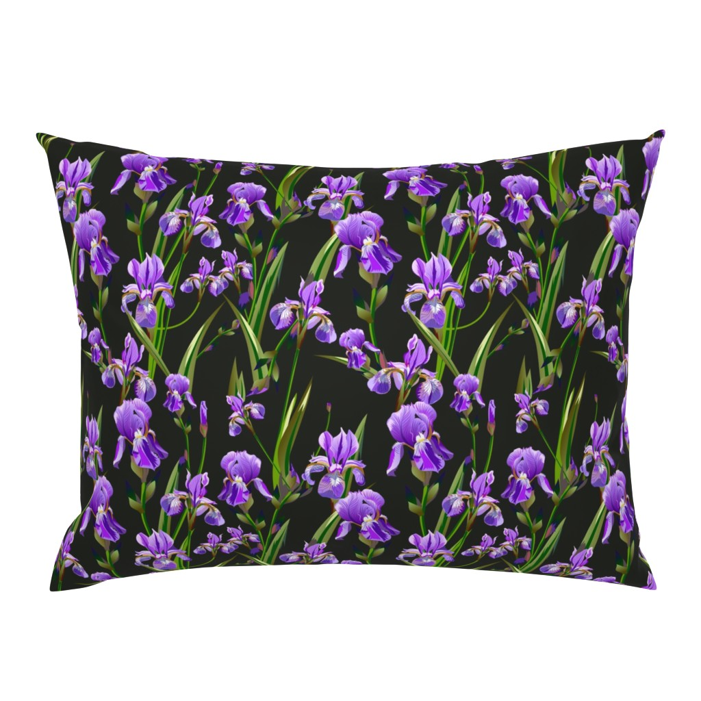 Campine Pillow Sham featuring Seamless pattern with iris flowers by zazulla