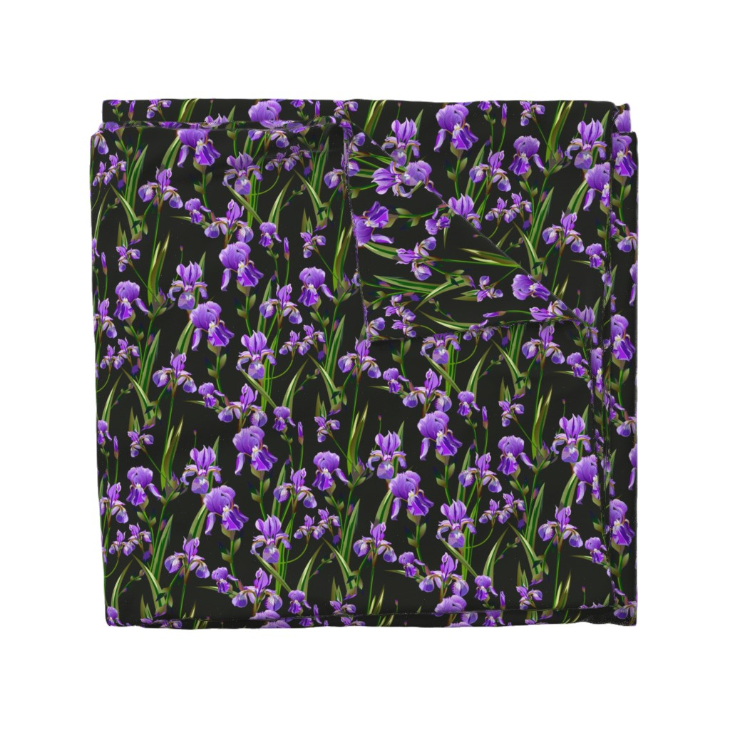 Wyandotte Duvet Cover featuring Seamless pattern with iris flowers by zazulla
