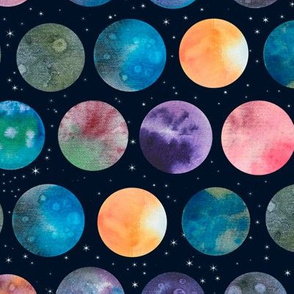 watercolor planets and stars
