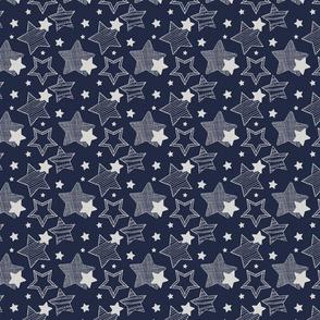 Stars - dark blue & grey