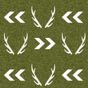 antler camo deer woodland nursery boy fabric