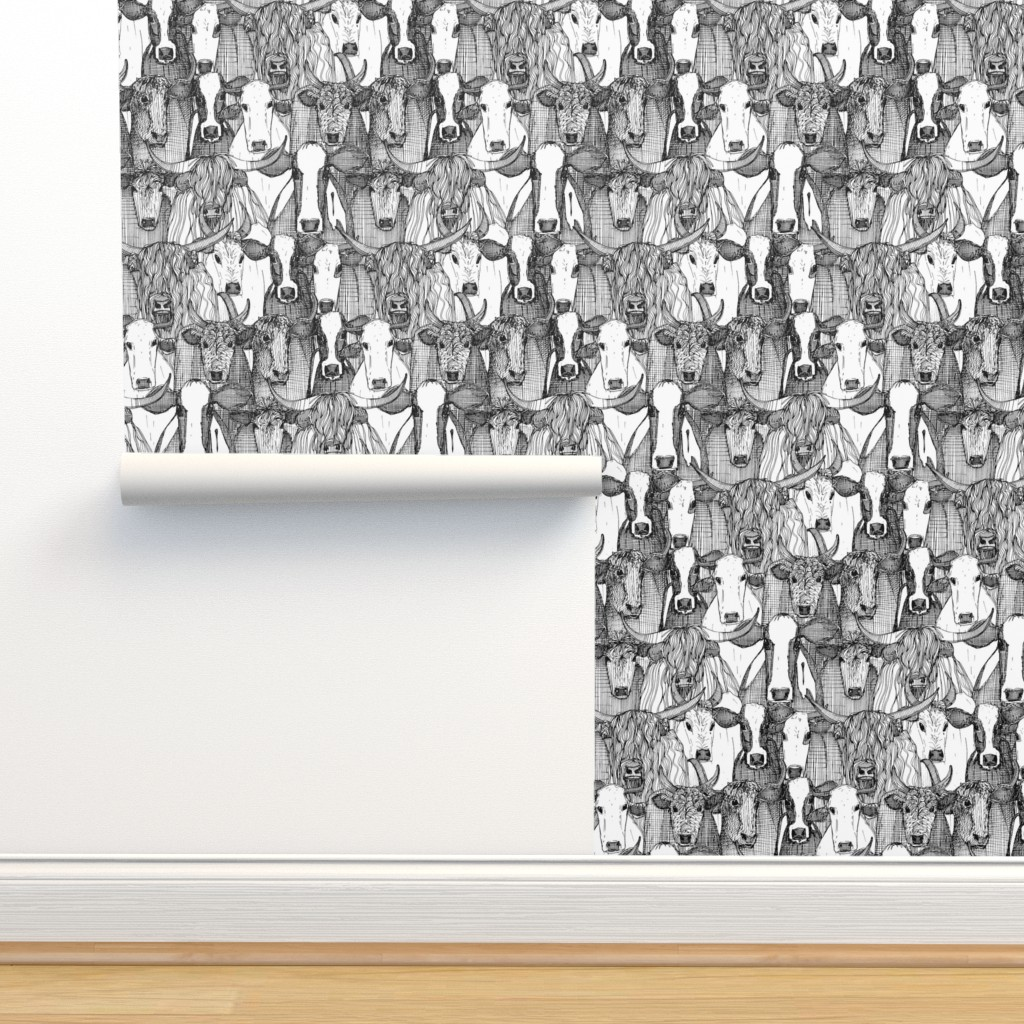 Isobar Durable Wallpaper featuring just cattle black white by scrummy