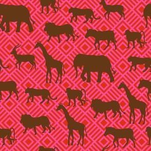 Wilds of Africa Animals Fuchsia Pink Red