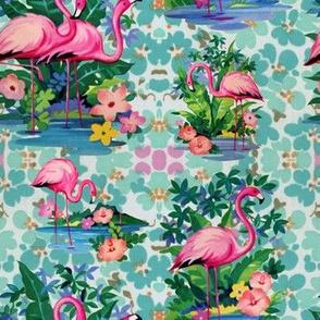 Kitschy Floral Flamingos
