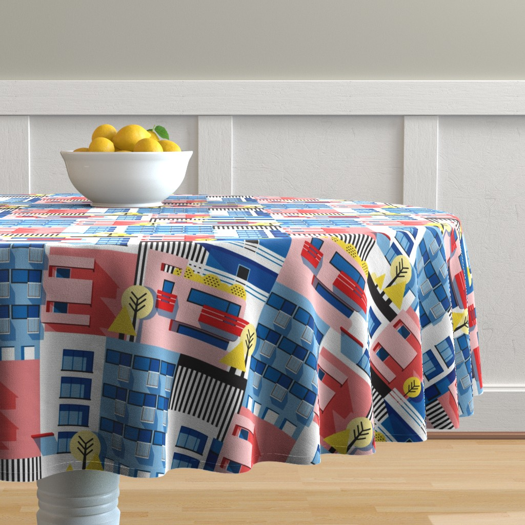 Malay Round Tablecloth featuring Bauhaus by nanamira