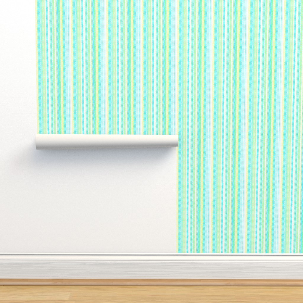 Isobar Durable Wallpaper featuring Boardwalk Stripes Turquoise Lime on White 450 by kadyson