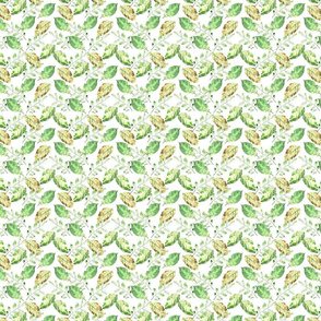 Watercolor hand painted pattern with leaves